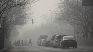 The pollution in Beijing is affecting visibility and limiting it to only 150 metres.