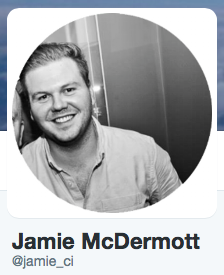 Professional business Twitter profile picture; Jamie McDermott, Career Intelligence
